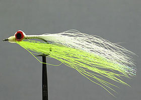 Clouser Minnow in white and chartreuse bucktail
