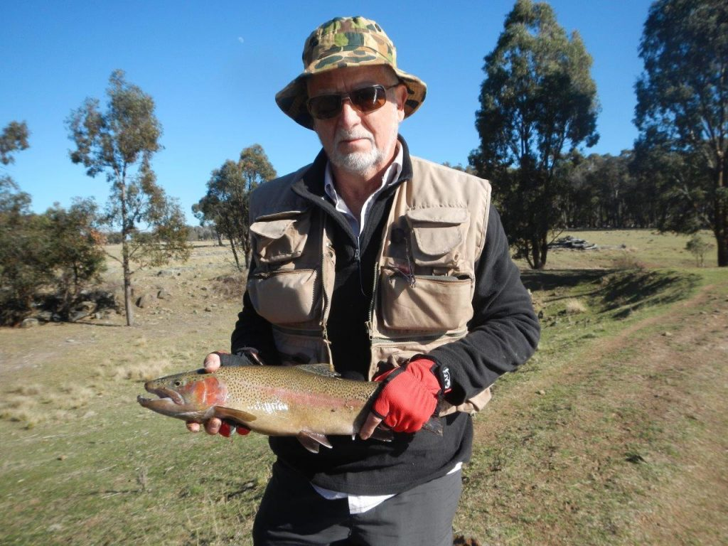 Dave with his 60cm male Rainbow, Dunmore Trout Waters, Guyra