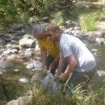 Visiting distant member Craig assisting the Editor releasing Fry at Doyles Creek